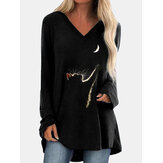 Cat Print Long Sleeves V-neck High Low Hem Casual T-shirt For Women