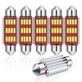 Audew 6PCS 42mm C5W 4014 SMD LED Festoen Dome Lights Kentekenverlichting 12V 2.7W 4882K Wit Kit