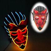 Halloween Haunted House Decor EL Wire Devil Mask Monster LED Luminous Mask Cosplay Flashing Mask