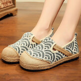 Women Linen Comfy Wearable Round Toe Casual Espadrille Flat Loafers