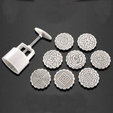 75g 8 Flower Stamps Moon Cake DIY Mould Hand Pressure Biscuit Pastry Mold Baking Tool