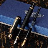 Caneta-tinteiro Hero 6006 Caneta-tinteiro de 0,5 MM 0,8 MM Dual Nibs Caneta-tinteiro substituível de textura fosca Caneta de assinatura para escola de presentes