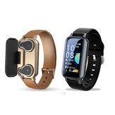 Bakeey T89 Pro BT 5.0 TWS Écouteurs sans fil Bracelet Fréquence cardiaque Moniteur de pression artérielle Suivi de la santé Modes multisports Montre bracelet intelligente
