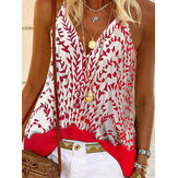 Ethnic Floral Print Sleeveless Straps Stitching Summer Tank Tops For Women