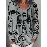 女性アート抽象文字印刷緩い長袖カジュアルTシャツ