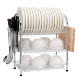 3 Tier Chrome Kitchen Dish Rack Cup Drying Drainer Tray Cutlery Holder Storage Kitchen Storage Rack