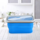 KCASA KC-FY02 Collapsible Silicone Lunch Box BPA Free Foldable Bento Food Container With Tableware