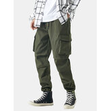 Mens Solid Applique Cotton Drawstring Cuff Cargo Pants With Multi Pockets