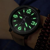 YAZOLE 319 Luminous PU Leather Band Pria Analog Olahraga Jam Tangan