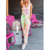 Tie-dye Print O-neck Sleeveless Tank Tops Casual Loose Pants Two Piece Set