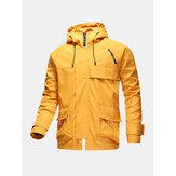 Mens Zip Front Relaxed Fit Drawstring Hooded Waterproof Outdoors Jackets With Flap Pockets