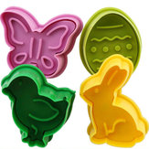 4 Pieces Animal Shape Easter Cookie Cake Decoration Mold Pastry Cookies Moulding Baking Mold Fondant Sugar Craft Mold