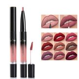 2 In 1 14 Farben Double Head Matt Lipgloss Lip Liner Lip Makeup Antihaftbecher