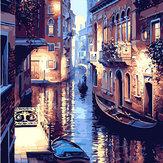 40X50CM Frameless El mundo del agua de la lona de Venecia Lienzo Pintura al óleo Pintura DIY Por números