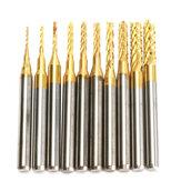 Drillpro DB-M13 10pcs 0.8mm-3mm Carbide End Mill Gravação Bits para CNC Rotary Burrs