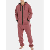 Mens Cotton Solid Hooded Pocket Long Sleeve Home Jumpsuit Zipper Sleepwear