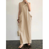 Women Elegant Solid Color Side Pockets Design Sleeveless Casual Maxi Dress