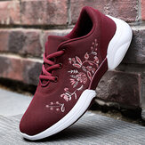 Women Casual Embroidery Flowers Knitted Lightweight Breathable Sneakers