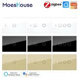MoesHouse ZigBee3.0 AC100-250V 50 / 60Hz US Interrupteur d'éclairage intelligent tactile mural Prise en charge du fil neutre / sans fil neutre Aucun condensateur Smart Life / Tuya fonctionne avec Alexa Google Hub requis
