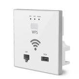 300Mbps In Wall AP WiFi Access Point Wireless Socket AP WPS LAN Port USB Charging Support