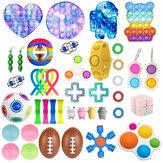 44 peças Fidget Antistress Conjunto de Brinquedo Pacote de Presente de Alívio Adultos Crianças Squishy Sensorial Antistress Alívio Brinquedos com Bolhas de Descompressão Artefato