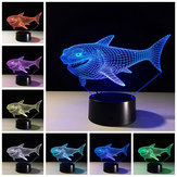 Shark 3D Night Light 7 couleurs changeantes LED Commutateur tactile USB Lampe de table cadeau pour les décorations