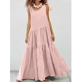 Women Solid Color Adjustable Shoulder Straps Pleated Design Holiday Casual Maxi Dress
