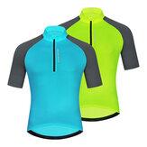 WOSAWE Heren Fietsen Ademend Korte mouw Buitensporten Top Reflecterend Veilig Nachtrijden Shirts Sneldrogend Fietskleding