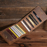 Men Genuine Leather Retro Business Solid Thin Multi-slot Card Case Card Holder Wallet