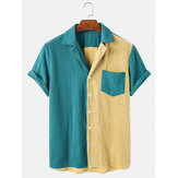 Heren corduroy losse button-down patchwork zak ademende casual shirts