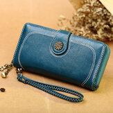 Porta-telefone feminina de couro de 6,3 polegadas com vários slots Porta-cartões carteira longa