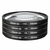 Universal 58mm Makro Close Up Filter Lens Kit +1 +2 +4 +10 untuk 58mm Lensa Kamera