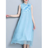 Vintage Sleeveless Embroidery Stand Collar Dress