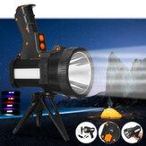 L2 6000LM 500m + Forte LED Faretto con treppiede 9600mAh Ricaricabile USB Potente faro Torcia portatile Manico per caccia campeggio TORCIA