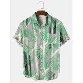 Мужские праздничные рубашки с короткими рукавами и карманами с принтом в виде листьев и блоков