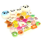 12PCS Random Kawaii Squishy Panda Bun Toast Multi Donuts Squishy Soft Cell Phone Straps