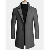 Lã masculina mistura casacos de comprimento médio Casacos de malha de lã casual para negócios