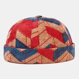 Collrown uomo velluto a coste irregolare colore patchwork Modello moda casual senza tesa berretto padrone di casa berretto teschio