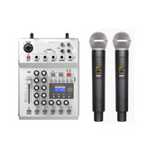 FOLE F-12T-USB KTV Stage DJ Audio Mixer Mixing Console with Display with 2 Microphone