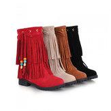 Büyük Boy Kadın Düz Ayak Bileği Botlar Bayanlar Püskül Ayak Bileği Kısa Botlar Kayma Açık Botlar