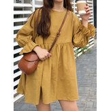 Women Solid Round Neck Long Sleeve Yellow Pleated Mini Dress