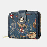 Women Bear Pattern 8 Card Slots Zipper Purse Short Wallet