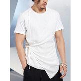 Mens Solid Bandage Crew Neck Camisetas de manga curta