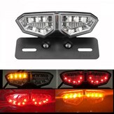 12V Motorcycle 18 LED Tail Brake Light Turn Signal License Plate Lamp Clear Lens