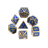 7Pcs Heavy Duty Metal Polyhedral Dices Set Multisided Dice Antique RPG Role Playing Game Dices