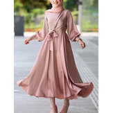 Women Solid Color Imitation Silk Ankle Length Puff Sleeve Kaftan Maxi Dresses