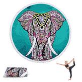 1 / 1,5 m rund Yoga Mats flerbrukshåndklæde kvaster tapestry skridsikker tæpper
