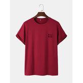 T-shirts décontractés à col rond et lettre de couleur unie pour hommes