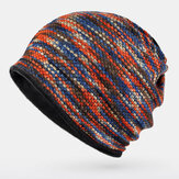 Unisex Plus Velvet Warm Thick Outdoor Mixed Color Casual Personality Brimless Beanie