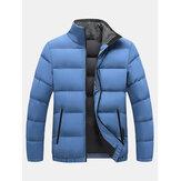Manteaux de couleur unie à manches longues à col montant chaud coupe-vent pour hommes